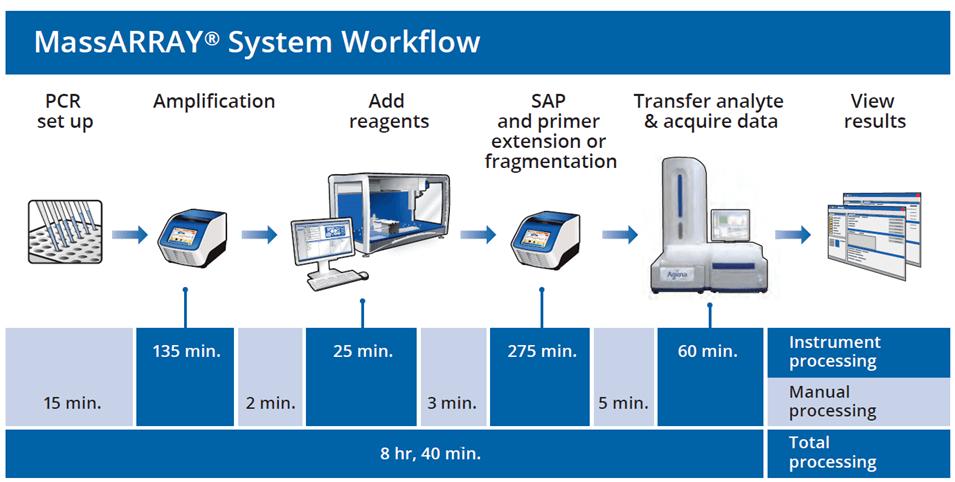 flujo trabajo, Agena, PCR, MassArray, genotipado, termociclador