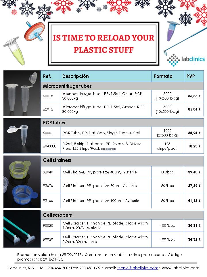 plástico, PLC, Labclinics, microtubos, eppendorfs, tubos PCR, strainers, scrapers, cultivo celular, biología molecular