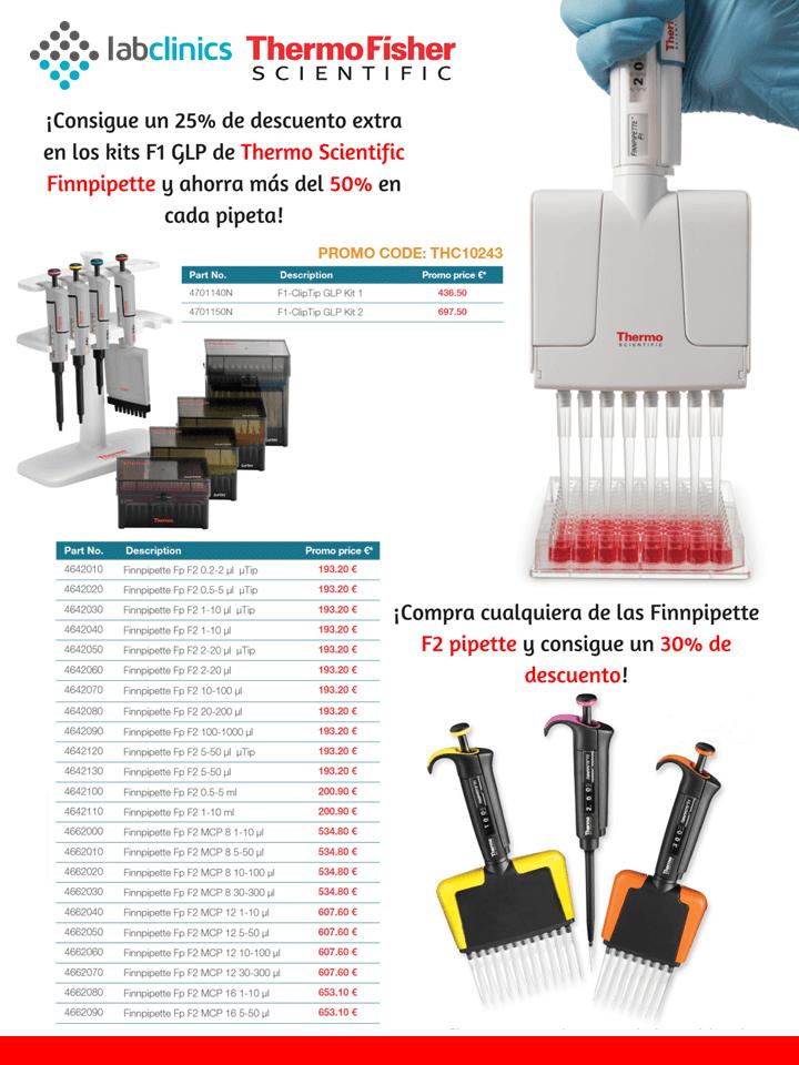 micropipeta, pipeta, F1, F2, GLP kit, Finnpipette, Thermofisher, oferta, promotion