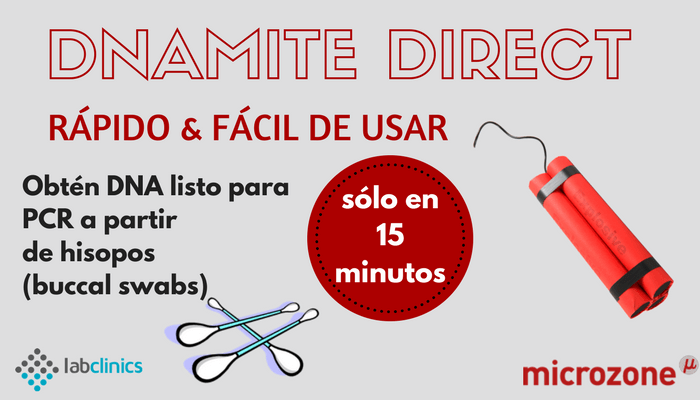 DNAMITE, Microzone, DNA, PCR, ready to use, kit, reactivo, promoción, rápido, extracción, fast, quick, purification, ADN, genotipado, buccal swabs, hisopos, genotyping