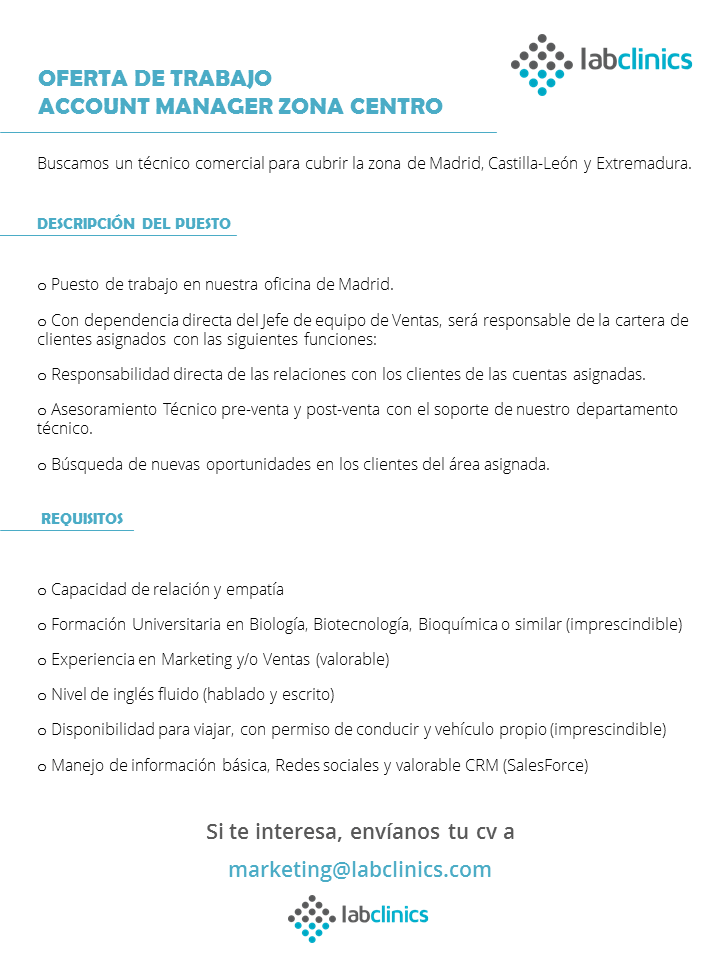oferta; trabajo, job, position, key account, técnico comercial, Madrid